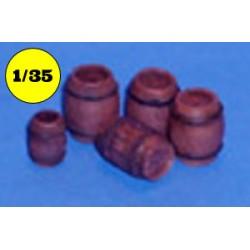 Assorted wooden barrels
