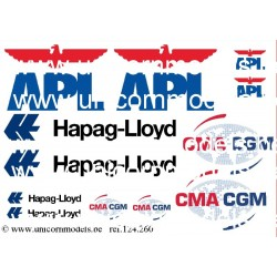 container logo APL, Hapag Lloyd, CMA CGM