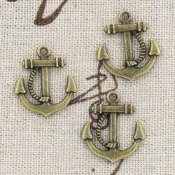 Anchor brass 18 x 27 mm with rope